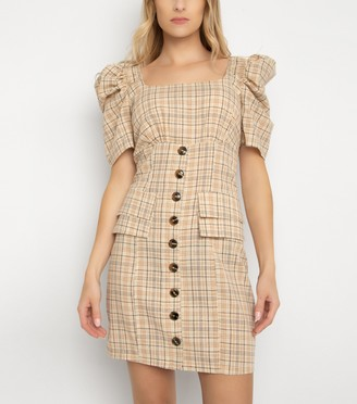 New Look Gini London Check Puff Sleeve Dress