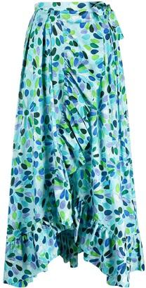Gianluca Capannolo Asymmetric Floral-Print Ruffled Skirt