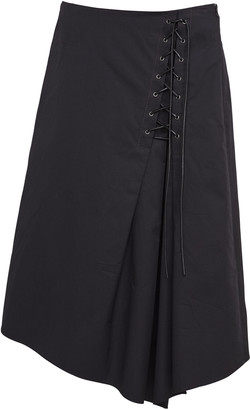 Dorothee Schumacher Sporty Power Lace-Up Cotton Midi Skirt