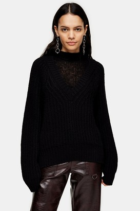 Topshop Womens Black Cocoon Slouchy Insert Neck Jumper - Black