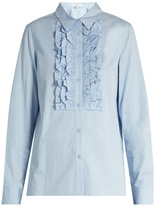 Tibi Ruffled-bib cotton shirt