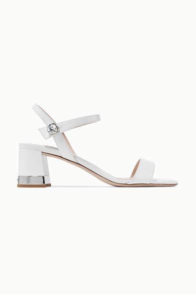 Miu Miu Crystal-embellished Patent-leather Sandals - White