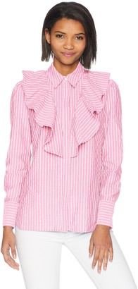 The Fifth Label Women's Parcel Stripe Ruffle Detail Long Sleeve Button UP Shirt