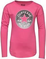 Converse Junior Girls Long Sleeve Drop Shoulder T-Shirt Mod Pink