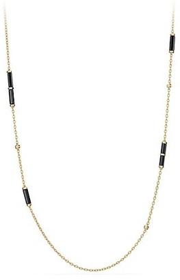 David Yurman Barrels Long Station Necklace with Black Onyx & Diamonds in 18K Yellow Gold