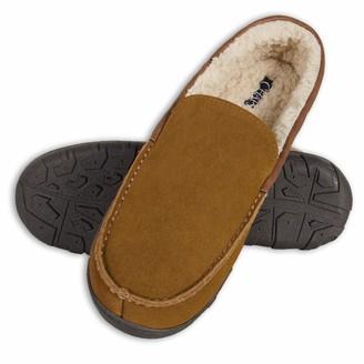 Chaps Men's Slipper House Shoe Moccasin Memory Foam Micro Suede Indoor Outdoor Nonslip Sole