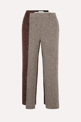 Monse Cropped Paneled Herringbone Wool-blend Straight-leg Pants - Camel