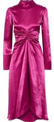 Sies Marjan Nara Ruched Washed-satin Dress