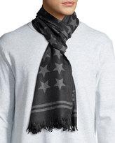 John Varvatos Star-Print Wool Scarf, Shadow