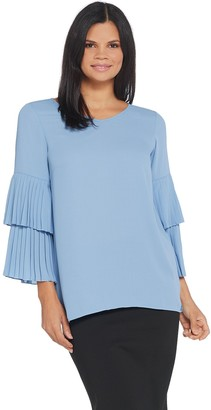 Joan Rivers Classics Collection Joan Rivers V-Neck Top with Pleated Sleeves