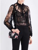 Alexander McQueen Ruched floral-lace blouse