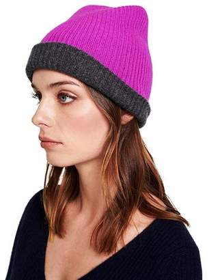 White + Warren Reversible Plush Rib Beanie - Charcoal / Optimistic Pink