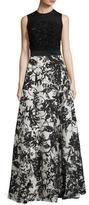 Escada Beaded Floral-Skirt Sleeveless Gown, Fantasy