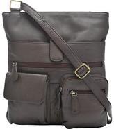 Wilsons Leather Womens Organizer Leather Crossbody W/ 2 Front Pockets Brown