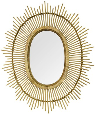 Stratton Home Light Brown Kelly Bamboo Oval Wall Mirror