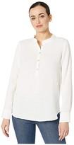 Three Dots Double Gauze Long Sleeve Henley (White) Women's T Shirt