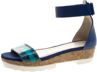 Jimmy Choo Blue Watersnake Neat Ankle Strap Cork Wedge Platform Sandals Size 40