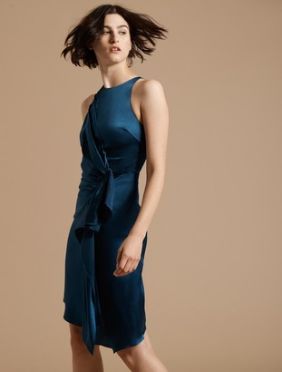 Halston Sleeveless Draped Front Satin Dress