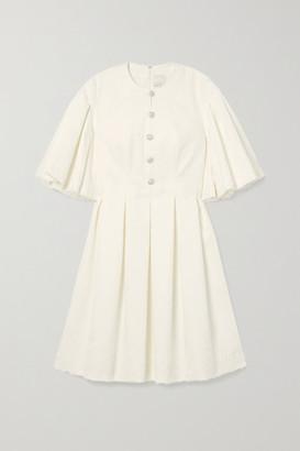 Huishan Zhang Jaime Embellished Lace-paneled Pleated Cotton-blend Dress - White