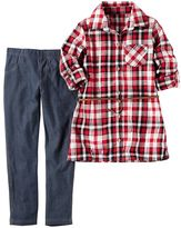 Carter's Girls 4-8 Red Metallic Flannel Plaid Top & Jeans Set