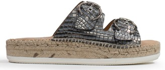 Kanna Seahouses Pewter Leather Reptile Buckle Espadrille Mules