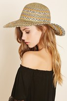 Forever 21 Striped Wide-Brim Straw Hat