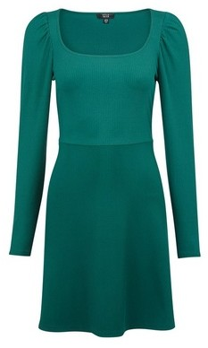 Dorothy Perkins Womens Lola Skye Green Puff Sleeve Skater Dress, Green