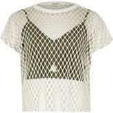 River Island Womens White bralette overlay mesh T-shirt