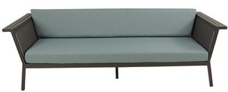 Brayden Studio Marina Teak Patio Sofa with Cushions Fabric Color: Spa, Frame Color: Grey