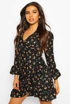 boohoo Woven Floral Spot Wrap Tea Dress