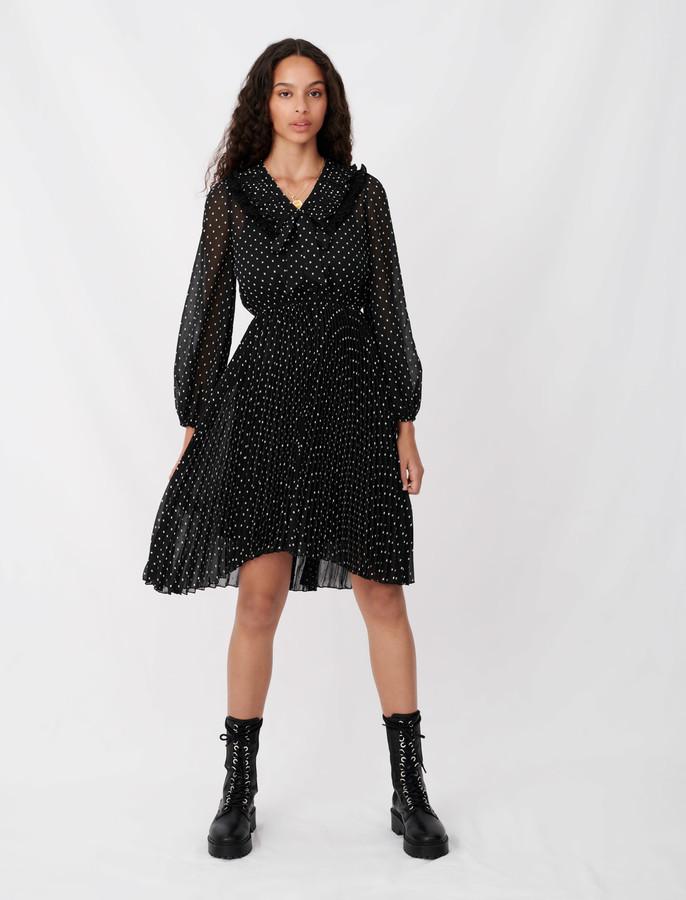 Maje Polka dot effect pleated muslin dress