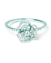 As 29 AS29 Pave Diamond Flower Cutout Ring