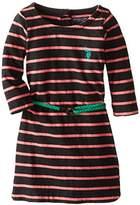 U.S. Polo Assn. Little Girls' Striped 3/4 Sleeve Dress with Fabric Braided Belt