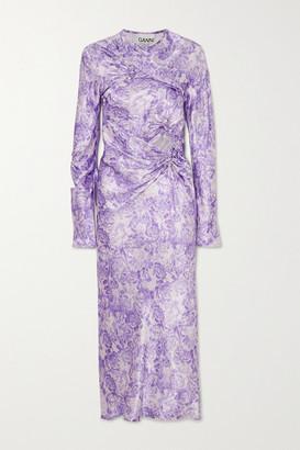Ganni Cutout Ruched Floral-print Satin Midi Dress - Lilac