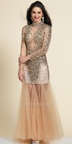Dave and Johnny Illusion Beaded Tulle Keyhole Prom Dress