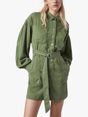 AllSaints Jess Relaxed Fit Long Sleeved Playsuit, Khaki