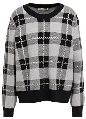 MICHAEL Michael Kors Studded Checked Jacquard-knit Sweater