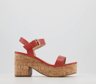 Office Mimi Cork Barely There Heels Coral