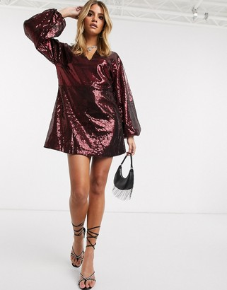 Ivyrevel sequin mini dress with flared sleeves in burgundy