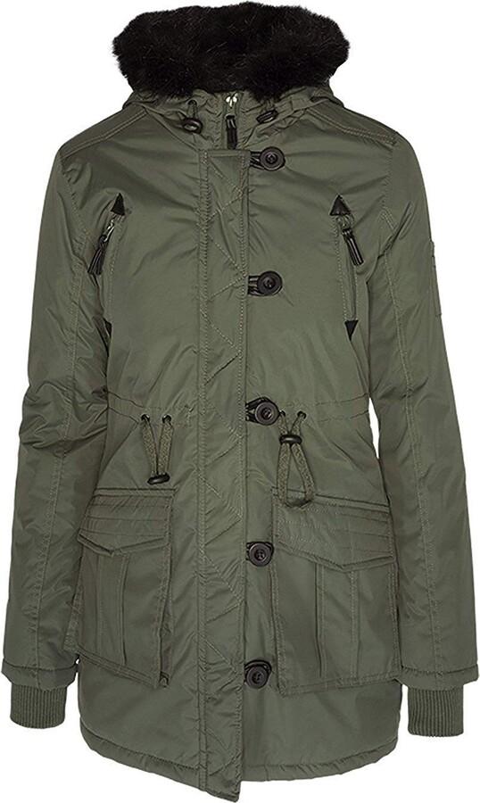 Brave Soul Ladie's Jacket MILITARYFUR Khaki UK 10