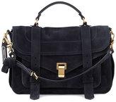 Proenza Schouler PS1 Medium Suede Satchel Bag, Navy