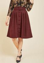 ModCloth Intern of Fate Midi Skirt in Burgundy in XXS