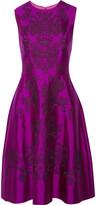 Lela Rose Embroidered wool and silk-blend twill midi dress