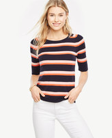 Ann Taylor Petite Striped Short Sleeve Sweater