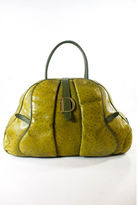 Christian Dior AUTH Green Ostrich Leather Gold Tone Double Handle Bowler Handbag