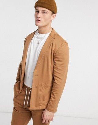 ASOS DESIGN skinny soft tailored suit jacket in jersey in tan