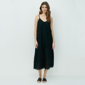 The White Company Cotton Broderie Strappy Midi Dress, Black, 8
