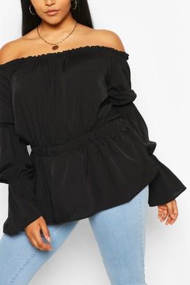 boohoo Plus Off The Shoulder Puff Sleeve Top