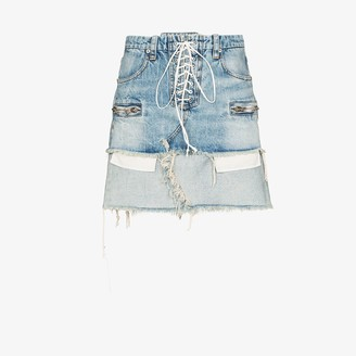 Unravel Project Lace-up reverse hem denim skirt