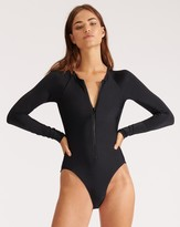 Veronica Beard Dune Rash-Guard Swimsuit